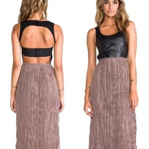 BLAQUE LABEL Genuine Leather Pleated Maxi Dress